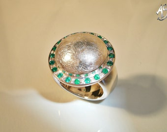 Emerald ring, silver ring emerald, emerald silver ring, emerald jewelry