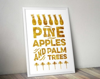 Pineapple And Palm Trees gold foil effect Print