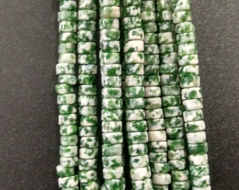 Natural White Green Stone Heishi beads 2x4mm- approx 170pcs/Strand