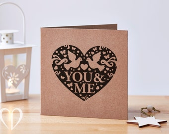 You & Me Card, Heart Card, Valentine's Card, Recycled Card, Anniversary Card, Love Card, Card for her, Card for him, Lover Card, You and Me