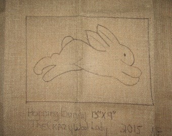 "Primitive Rug Hooking Pattern""Hopping Bunny 13"" X 9"""