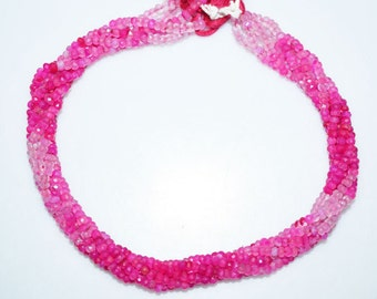 "Natural Shaded Hot Pink Chalcedony Faceted Rondelle Beads , Hot Pink Chalcedony Rondelle Beads , 4 mm , 13"" - MC801"