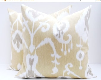 15% Off Sale Pillow covers yellow  Gold Pillow - Yellow Pillow - Ikat Pillow Covers.Set of TWO.Spots.Housewares.home Decor.
