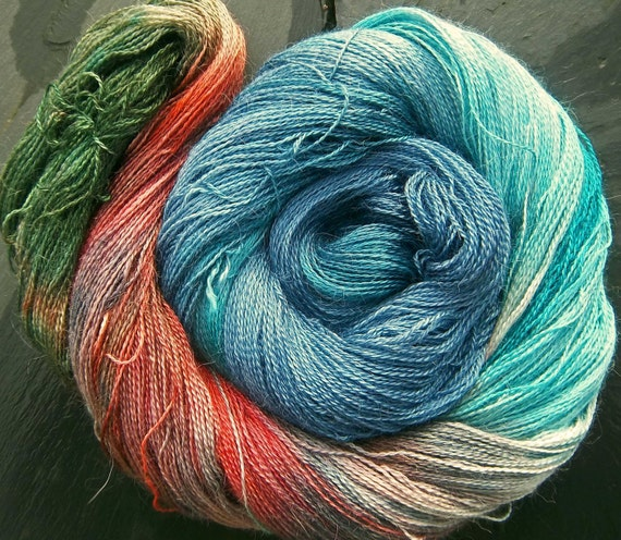 Elvincraft Lace weight 2ply Yarn Alpaca & 30% Mulberry Silk Hand Dyed Painted Woaded Woman Warrior