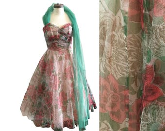 1950s Tulle Rose Print Emma Domb Prom Party Dress