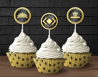 1920s Great Gatsby Printable Decorations // 30th Birthday Cupcake Toppers // Birthday Party // 1920s Toppers // Great Gatsby Cupcake Toppers