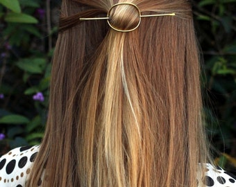 Circle hair barrette oval hair slide hammered copper hair pin minimalist hair accessories simple textured brass hair jewelry pin hair stick