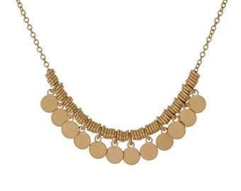 Gold Brass Metal Small Coin Charm Necklace