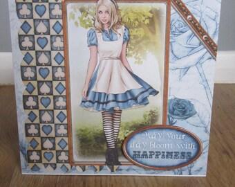 Handmade Alice in Wonderland card