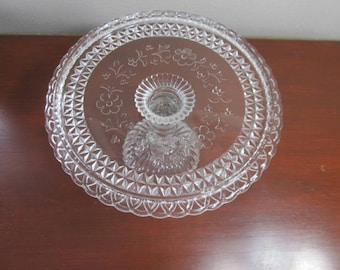 Beautiful mid-century glass pedestal cake stand; pressed glass plate with flowers, ivy and berries; wedding or bridal shower plate;  1950's
