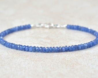 Sapphire Bracelet, Natural Blue Sapphires, September Birthstone, Birthstone Bracelet, Silver Beaded Bracelet, Gift for Grandma, Mom, Wife