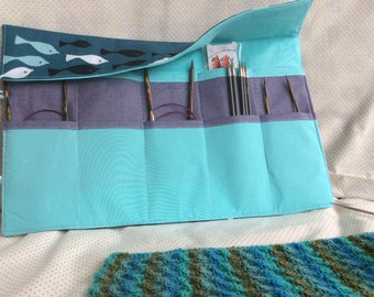 Fish print circular knitting needle case, with zip pocket. Knitting needle organiser. Needle tidy. Knitters needle roll. Knitters gift idea.