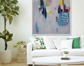 """Giclee Print of abstract painting with blue and pink, modern painting """"Tea Time"""""""