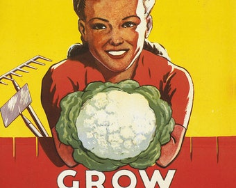 Dig for Victory, Grow Your Own Vegetables. Vintage Print/Poster. (4935)