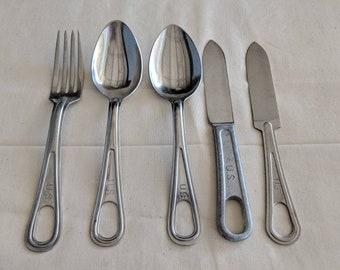 US Military mess kit half and utensils