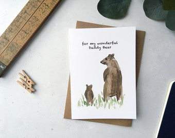 Daddy Bear Card, Fathers Day Card, Card for Dad, Papa Bear Watercolour Illustration, Card for Daddy, Big Bear Little Bear
