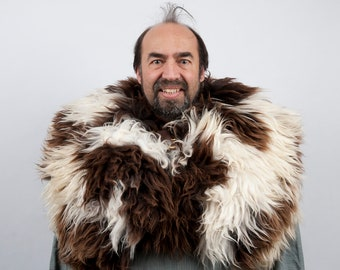 Genuine fur mantle white brown sheepskin cape larp viking armor warcraft costume cosplay orc barbarian game of thrones sca medieval clothing