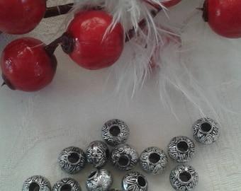 Aztec set of 20 patterns silver beads for necklace, bracelet, or decoration
