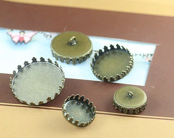 20 Blank Brass Button Base Antique Bronzed 12mm/ 15mm/ 20mm/ 25mm Round Crown Edged Bezel Cup Cabochon Mounting W/ Back Ring