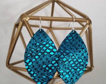 Teal genuine leather teardrop & leaf earrings, metallic, medium,