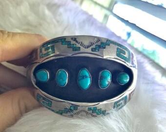 Beautiful Shadow Box Vintage Navajo Turquoise Cuff