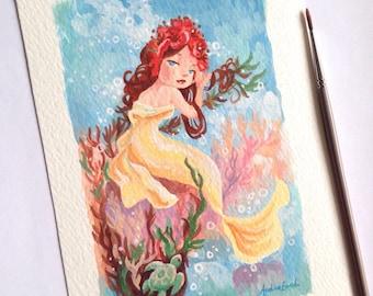 Summer Mermaid - Alphonse Mucha inspired series - 5 x 7 inches - Fine Art Print