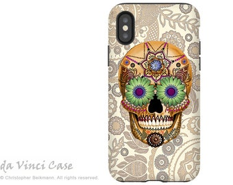 Bone Paisley Sugar Skull iPhone X Tough Case - Dia De Los Muertos Dual Layer Case for Apple iPhone 10