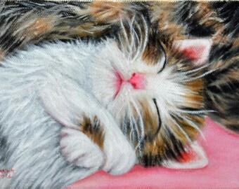 oil painting, cat, Kitten, handmade