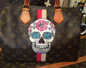 Painted Sugar Skull Design- Initial cover-up on your bag