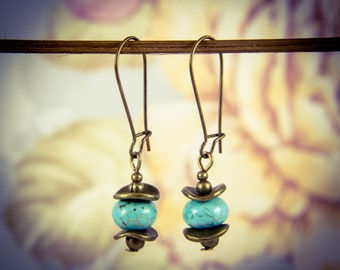 Turquoise and Bronze Lily Pad Earrings [E73]