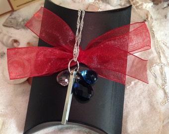 Sterling Silver Blue Quartz Bar Charm Necklace