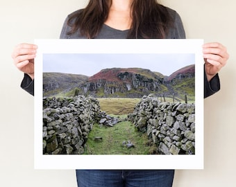 Winterfell print, Game of Thrones inspired landscape photograph, stone wall art, English countryside photography print. Teesdale photo.