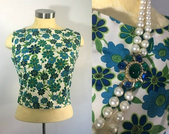 1950s 1960s Aileen Mod Floral Top / Side Zipper Cropped Blouse