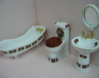 1:12 Dolls house porcelain bathroom set-4pcs
