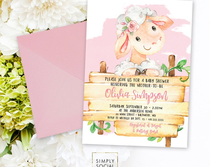 Pink Lamb Baby Shower Invitation - It's a Girl Watercolor Sheep Farm Country Baby Shower Floral Little Lamb Printable Baby Girl