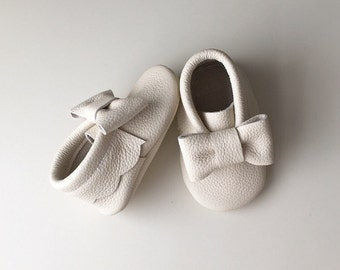 Cream Leather Baby Moccasins