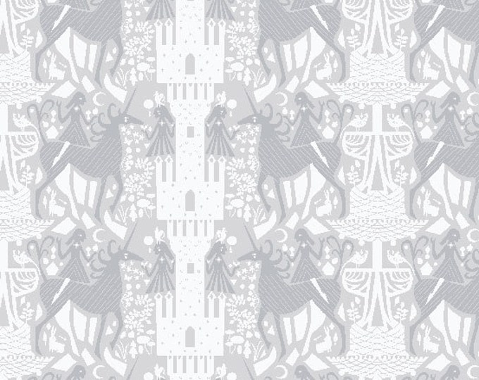 The Hit Parade - Unicorn Dream in Tonal Gray by Lizzy House for Andover Fabrics - Cotton Lawn Fabric