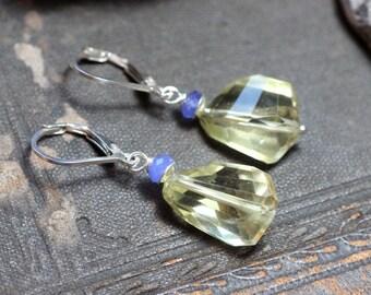 Lemon Quartz Earrings Yellow Earrings Faceted Nuggets Gemstone Earrings Yellow Stone Rustic Jewelry