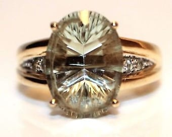 Large Green Amethyst 9ct Yellow Gold ring size N ~ US 6 3/4