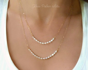 Double Strand Pearl Necklace For Women, Simple Multi Strand Freshwater Pearl Bridal Necklace, Bridesmaid Jewelry Gift, Rose Gold, Silver