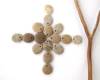 Stone Beads Pebble Beads Mediterranean Natural Beach Stone Beads Top Drilled Rock Pairs Diy Jewelry OATMEAL LOT 19-22 mm