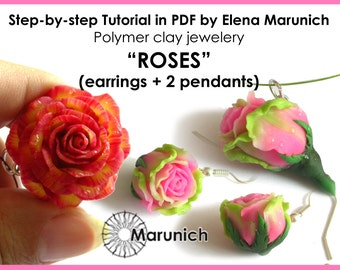 "Polymer clay tutorial ""Roses: earrings+2 pendants"" PDF"