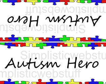 Autism Hero Puzzle Piece Boarder Bag Topper Printable