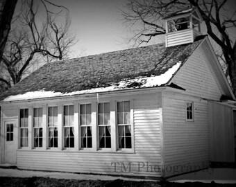 One Room Schoolhouse - 1800's - Schoolhouse - Black and White - Black and White Old School -1800's Schoolshouse - Fine Art Photography