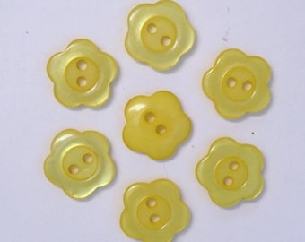 Buttons 15mm set of 10 Flower: yellow - 001958