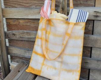 Organic Canvas Tote- Shibori Bag- Market Tote Hand dyed shibori cotton tote