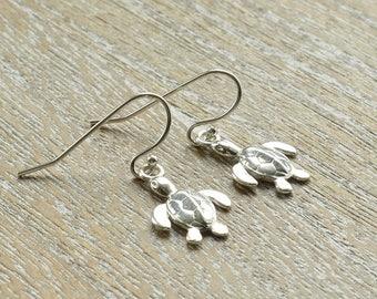 Cute Sterling Silver Earrings, Turtle Earrings, Cute Earrings, Turtle Jewelry, Turtle Gifts, Ocean Jewelry, Gift For Sister Birthday