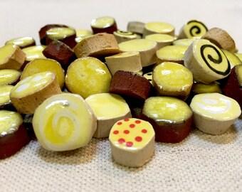 Mellow Yellow Handmade Ceramic Mosaic Tile Variety Pack