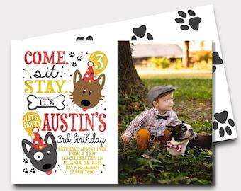 Puppy Birthday Invitation | Dog Birthday Invitation | Puppy Paw-Ty | Come Sit Stay | First Birthday Birthday Invitation