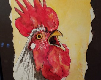Rooster painting water color